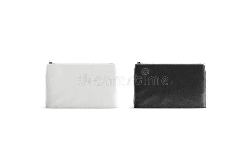 Maqueta blanco y negro de la bolsa de la lona del espacio en blanco, vista delantera aislada, stock de ilustración