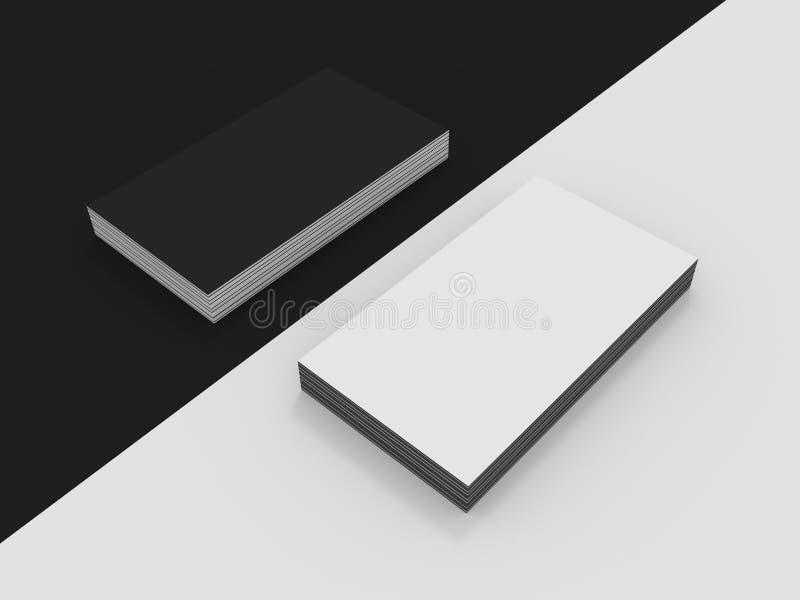 Maqueta blanco y negro en blanco de las tarjetas de visita stock de ilustración
