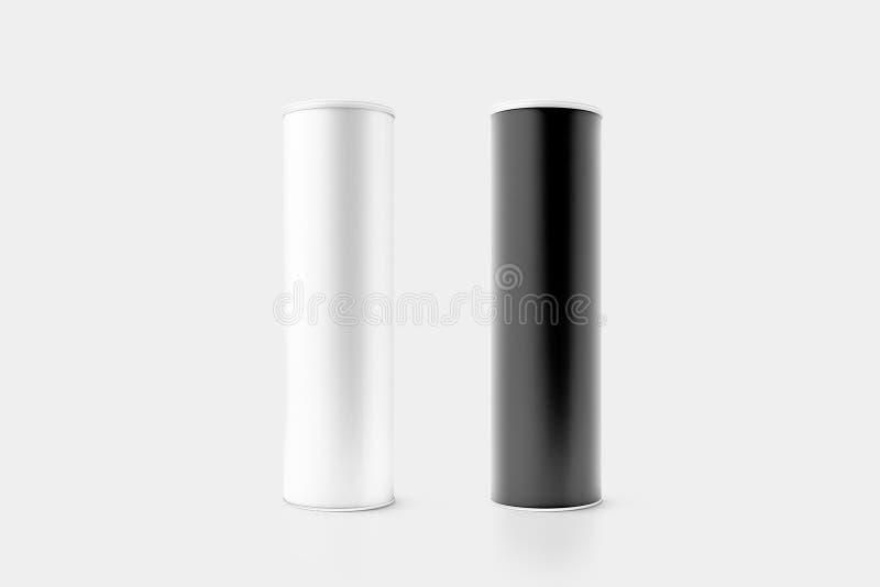 Maqueta blanco y negro en blanco de la caja del cilindro de la cartulina imagen de archivo libre de regalías