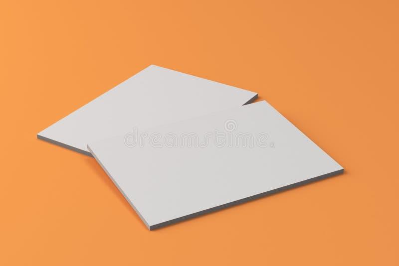 Maqueta cerrada blanca en blanco del folleto dos en fondo anaranjado ilustración del vector