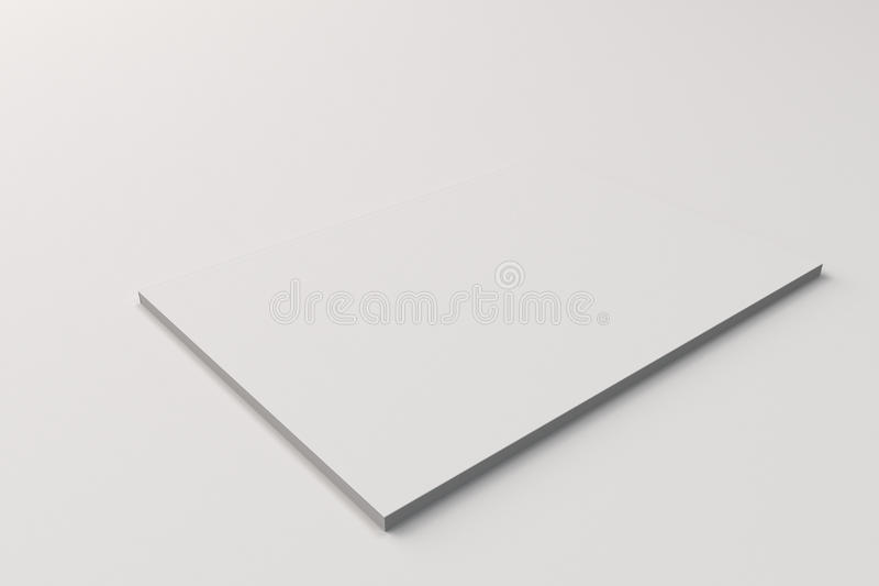 Maqueta cerrada blanca en blanco del folleto en el fondo blanco libre illustration