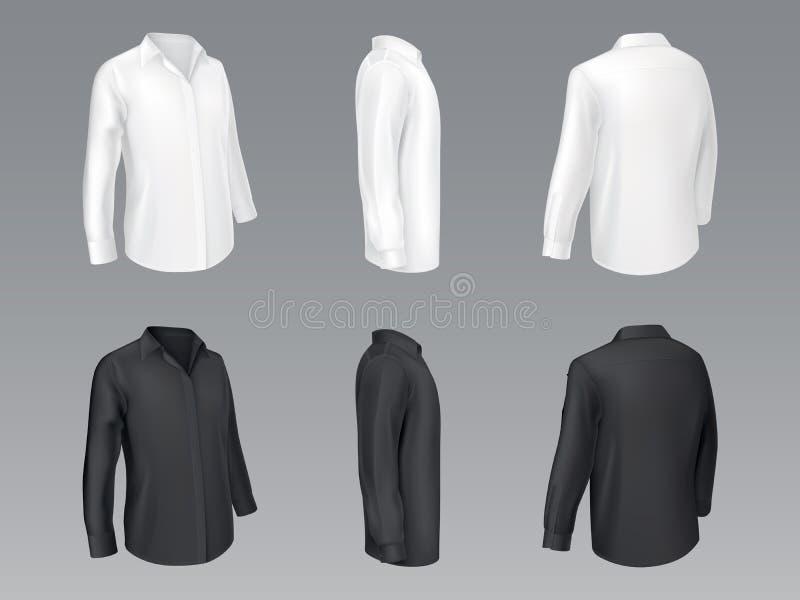 Maqueta clásica blanco y negro del vector de las camisas ilustración del vector