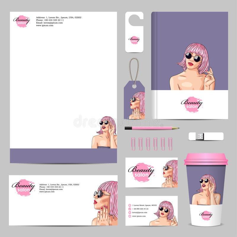 maqueta corporativa del negocio con la mujer que lleva la peluca rosada stock de ilustración