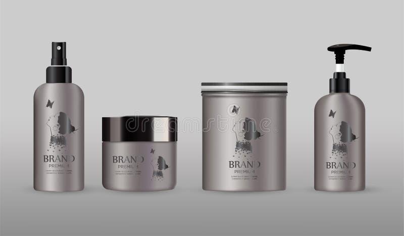 Maqueta cosmética en blanco del metal del paquete en sistema gris del fondo stock de ilustración