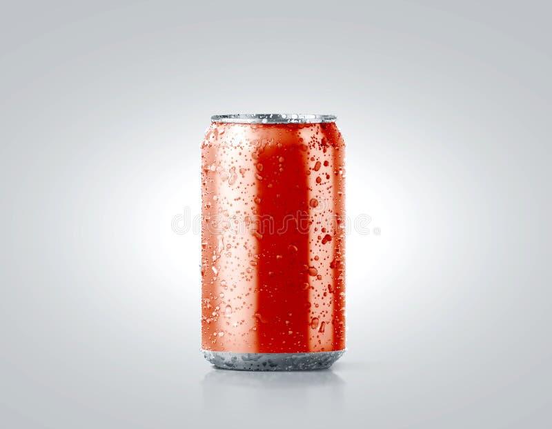 Maqueta de aluminio fría roja en blanco de la poder de soda con descensos foto de archivo