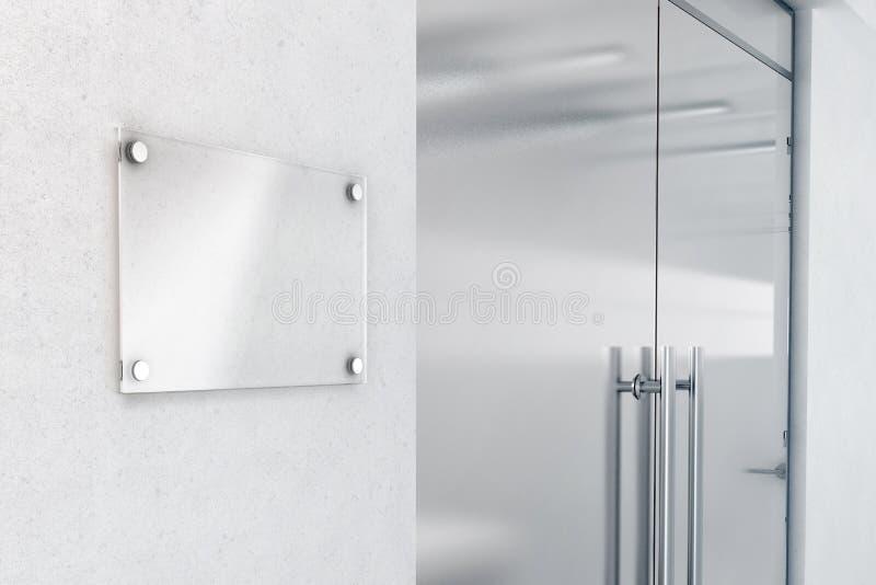 Maqueta de cristal en blanco del diseño del letrero, representación 3d fotografía de archivo libre de regalías