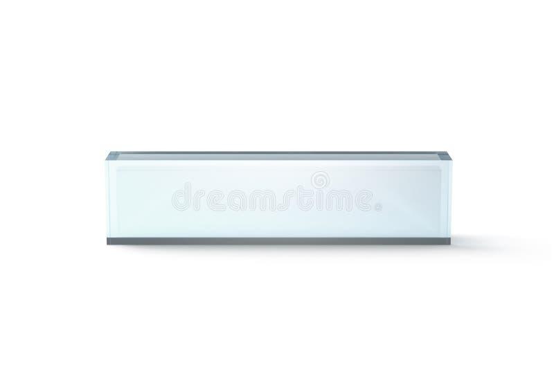 Maqueta de cristal transparente en blanco del bloque del escritorio, vista delantera stock de ilustración