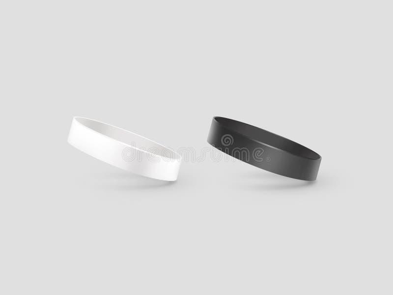 Maqueta de goma blanca y negra en blanco de la pulsera, trayectoria de recortes, stock de ilustración