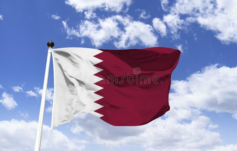 Maqueta de la bandera de Qatar, Medio Oriente fotografía de archivo