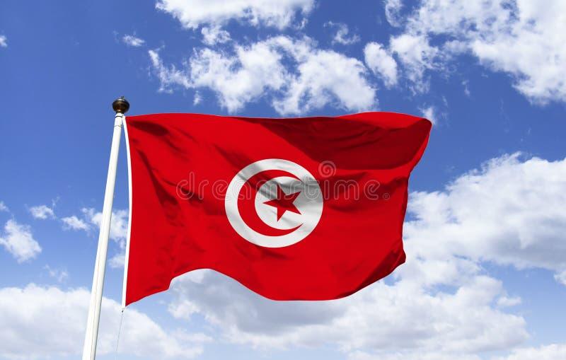 Maqueta de la bandera de Túnez que agita debajo del cielo azul fotos de archivo libres de regalías