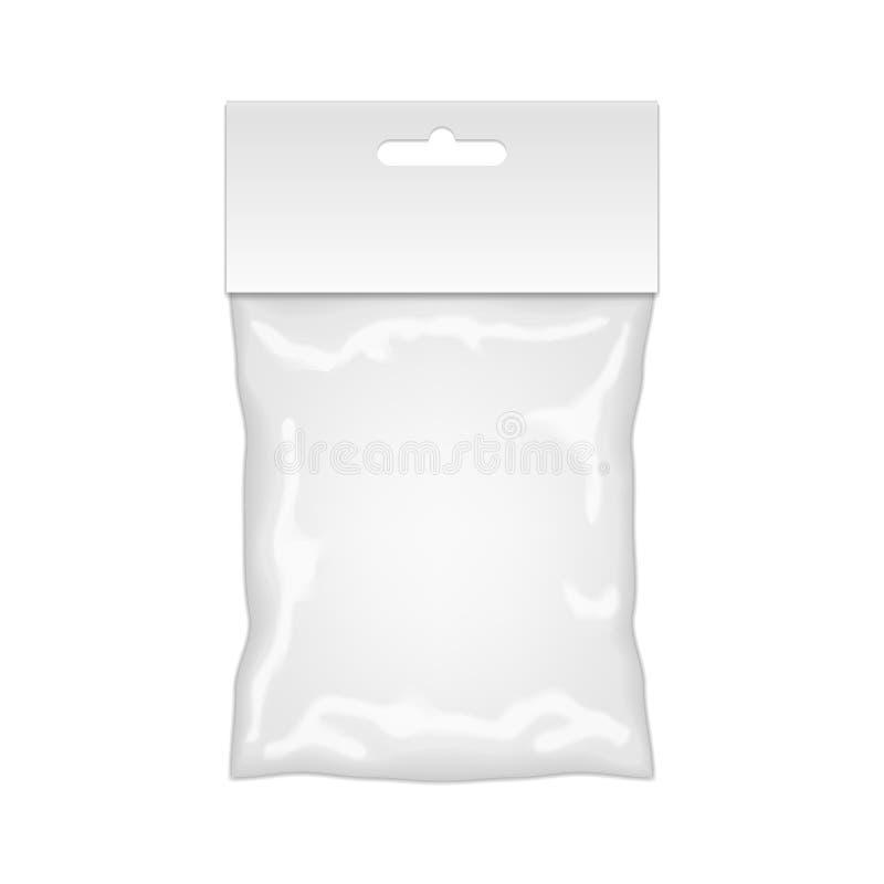 Maqueta de la bolsa de plástico lista para su diseño Empaquetado en blanco stock de ilustración