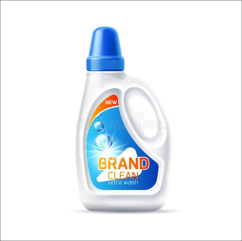 Maqueta de la botella del detergente para ropa del vector 3d con la tapa ilustración del vector