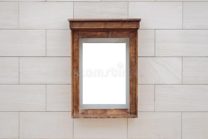 Maqueta de la caja del cartel del cine Fachada constructiva de piedra moderna de la pared en fondo foto de archivo