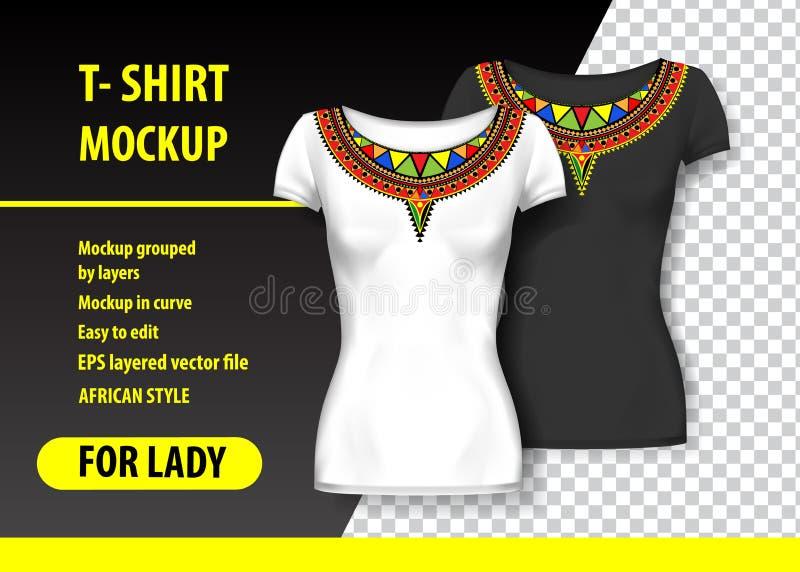 Maqueta de la camiseta con los ornamentos africanos en dos colores Maqueta acodada y editable ilustración del vector