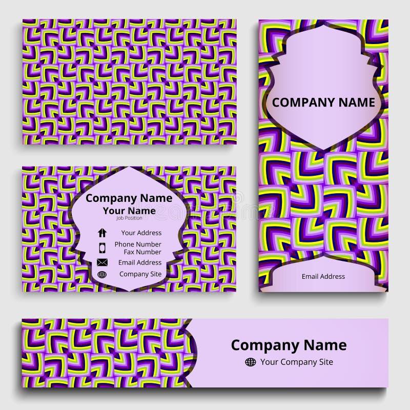 Maqueta de la identidad corporativa de las tarjetas de la bandera, del negocio y de la invitación de las sombras violetas, amaril ilustración del vector