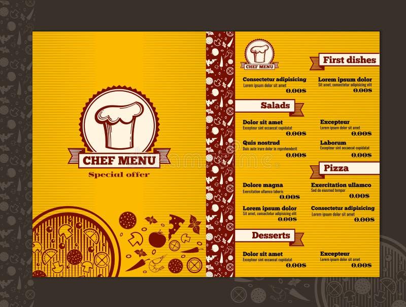 Maqueta de la plantilla del diseño del vector del menú del restaurante ilustración del vector