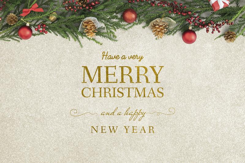 Maqueta de la tarjeta de felicitación de la Feliz Navidad y de la Feliz Año Nuevo imagenes de archivo