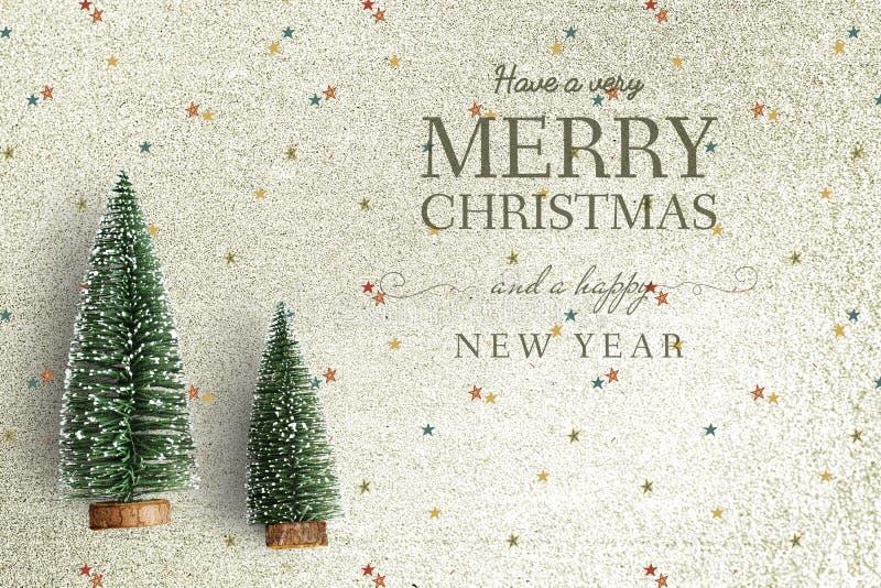 Maqueta de la tarjeta de felicitación de la Feliz Navidad y de la Feliz Año Nuevo imágenes de archivo libres de regalías