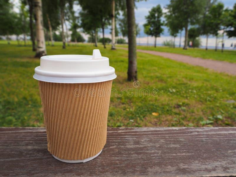 Maqueta de la taza de café para llevar de papel marrón en superficie de madera en fondo del parque del verano, para el montaje de foto de archivo libre de regalías