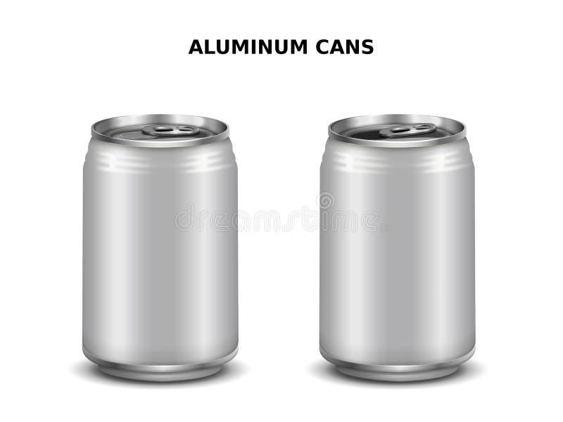 Maqueta de las latas de aluminio stock de ilustración