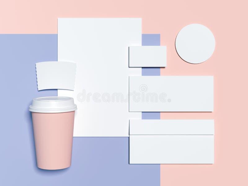 maqueta de marcado en caliente Azul-rosada con las hojas en blanco, el sobre y las tarjetas de visita representación 3d ilustración del vector