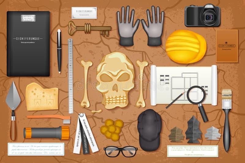 Maqueta de marcado en caliente de la identidad para la arqueología ilustración del vector
