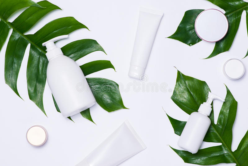 Maqueta de marcado en caliente del BALNEARIO de los cosméticos, opinión superior, sobre el fondo blanco imagenes de archivo