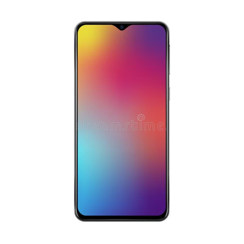 Maqueta de moda realista del smartphone con los marcos y el ejemplo finos del vector del wallpaperr de la pantalla de malla de la stock de ilustración
