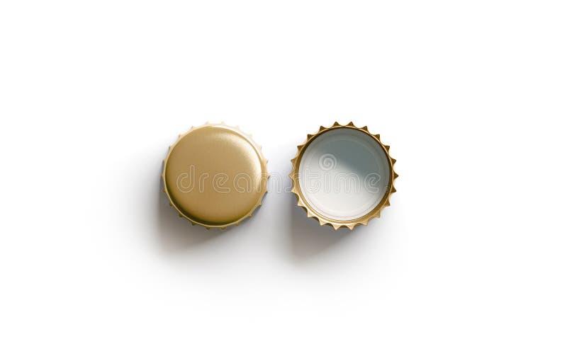 Maqueta de oro blanca en blanco de la tapa de la cerveza, lado superior de la visión, delantero y trasero fotografía de archivo