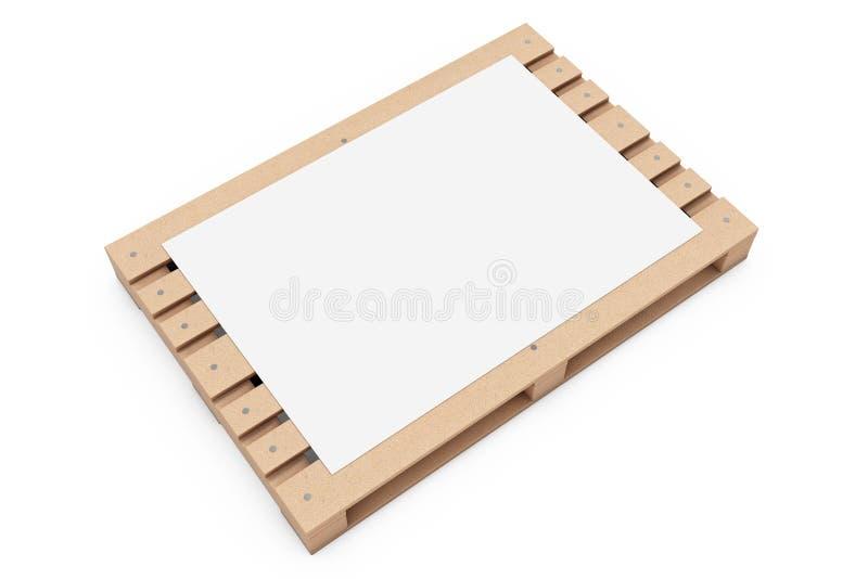 Maqueta de papel de la publicidad en blanco sobre la plataforma euro de madera rende 3D ilustración del vector