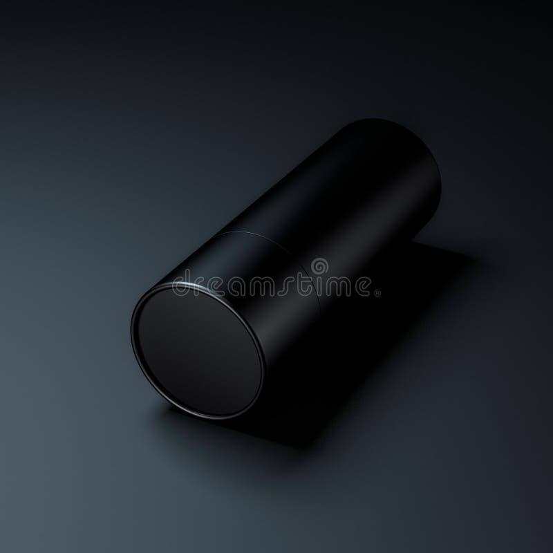 Maqueta de papel negra de la lata del tubo en negro ilustración del vector