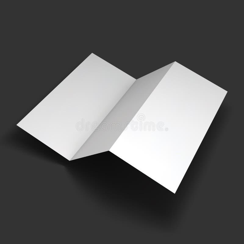 Maqueta de papel triple en blanco del folleto ilustración del vector