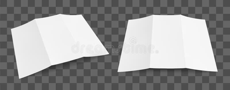 Maqueta de papel triple en blanco del folleto Plantilla del diseño del aviador en fondo transparente Conjunto de la ilustración d ilustración del vector
