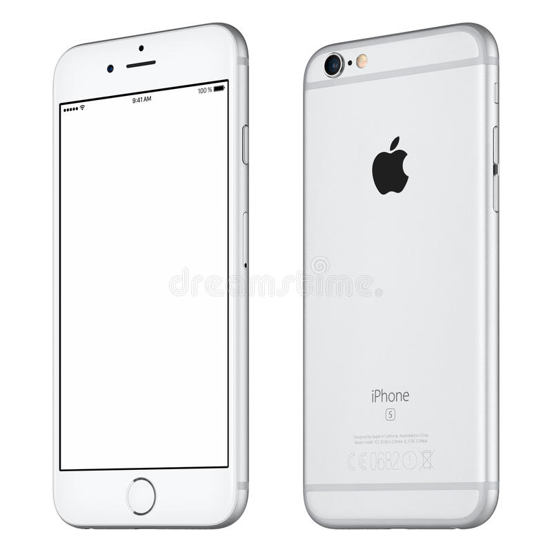 Maqueta de plata del iPhone 6S de Apple levemente a la derecha girada imagen de archivo libre de regalías