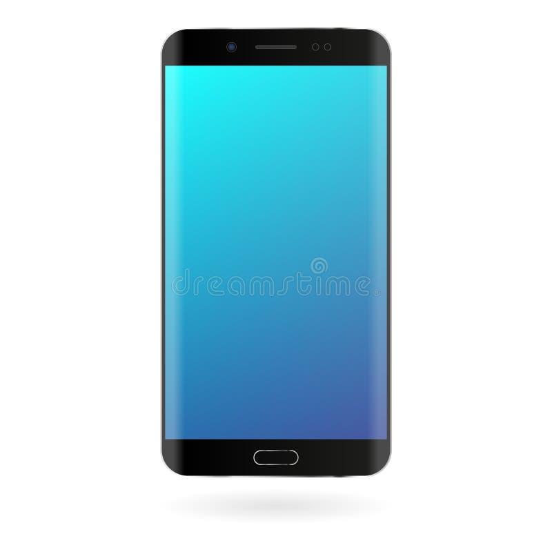 Maqueta de Smartphone con la pantalla azul de la pendiente en el fondo blanco Plantilla digital del artilugio del color negro stock de ilustración