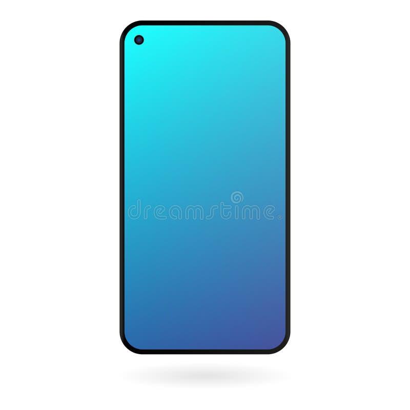 Maqueta de Smartphone con la pantalla azul de la pendiente en el fondo blanco Plantilla digital del artilugio del color negro ilustración del vector