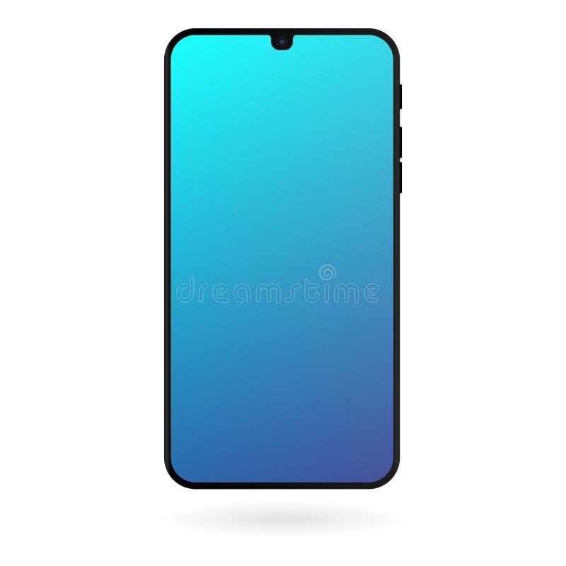 Maqueta de Smartphone con la pantalla azul de la pendiente en el fondo blanco Plantilla digital del artilugio del color negro libre illustration