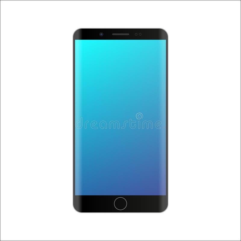 Maqueta de Smartphone con la pantalla azul de la pendiente en el fondo blanco Plantilla digital del artilugio del color negro Tel ilustración del vector