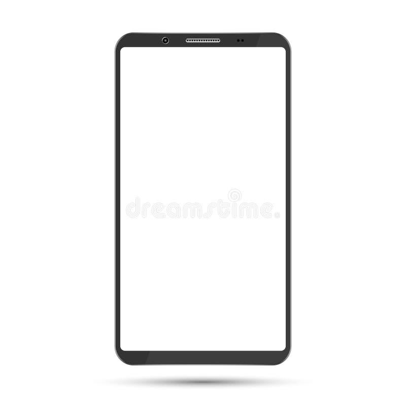 Maqueta de Smartphone con la pantalla en blanco aislada en el fondo blanco libre illustration