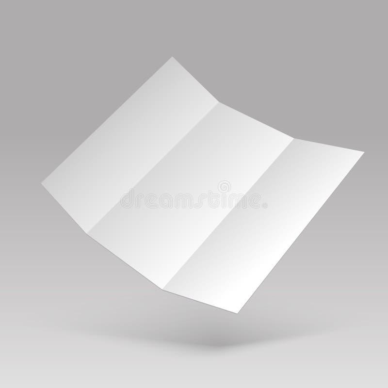 Maqueta del aviador Papel con membrete de papel doblado blanco en blanco plantilla del vector de la tarjeta del prospecto 3d stock de ilustración
