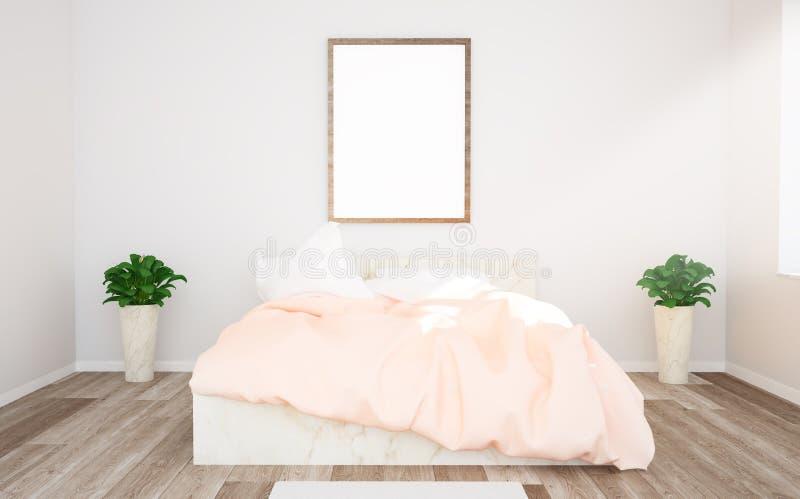 maqueta del cartel en dormitorio rosado imagen de archivo libre de regalías