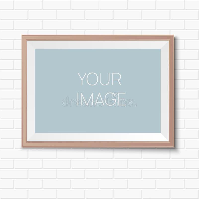 Maqueta del cartel del vector en la pared de ladrillo blanca libre illustration