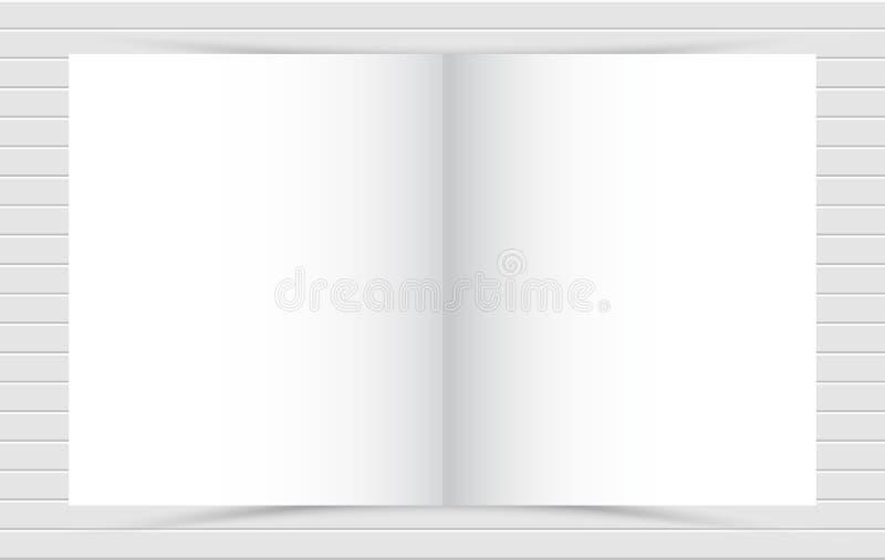Maqueta del ctalogue cuadrado en blanco abierto en el fondo blanco de papel del diseño libre illustration