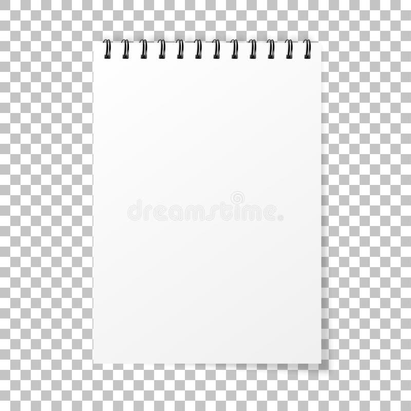 Maqueta del cuaderno Nota con espiral Estilo realista del cuaderno Papel vac?o de la libreta Vector stock de ilustración