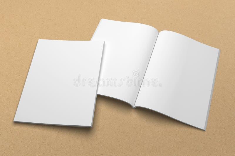 Maqueta del ejemplo del folleto 3D en la textura de papel reciclada ninguna 1 libre illustration