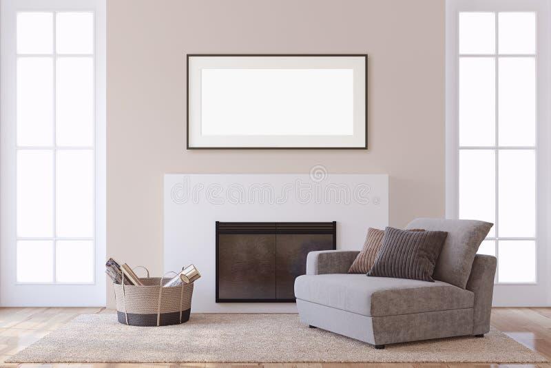 Maqueta del interior y del marco Chimenea moderna representación 3d stock de ilustración
