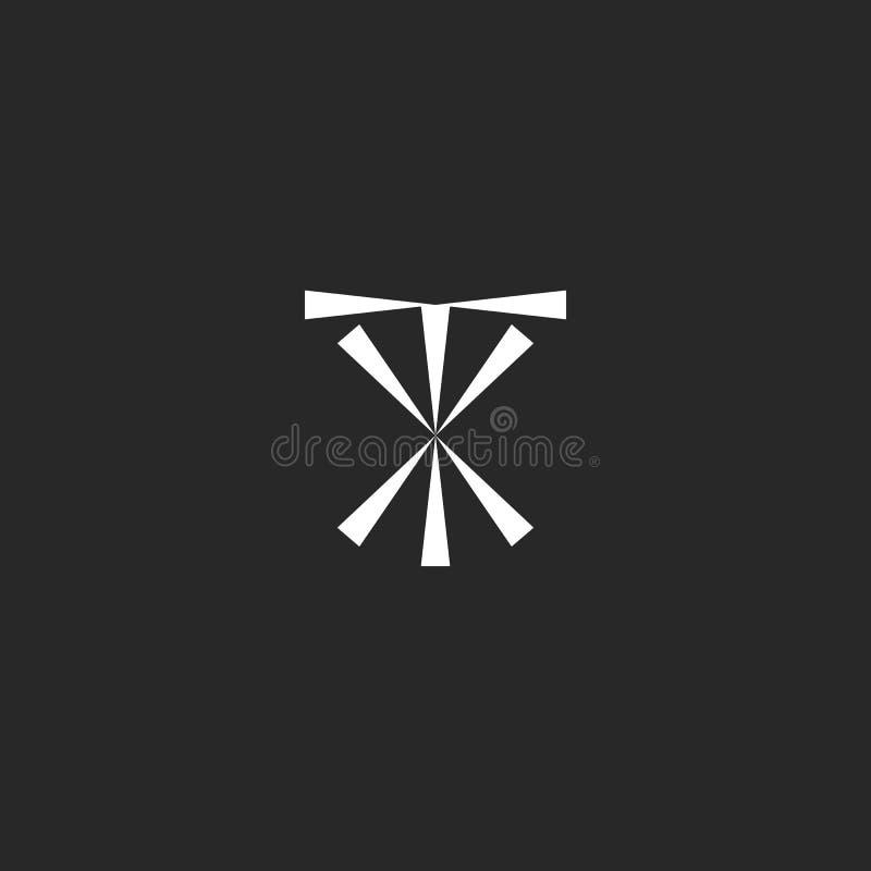 Maqueta del logotipo de las iniciales TX, plantilla del elemento del diseño del inconformista del emblema de la tipografía XT, sí ilustración del vector