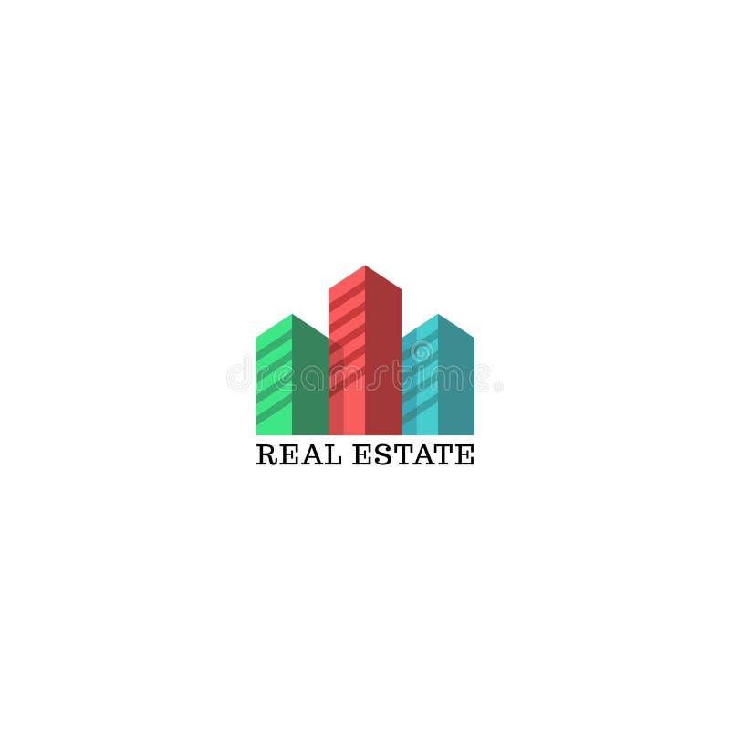 Maqueta del logotipo de las propiedades inmobiliarias, siluetas coloreadas del emblema de los rascacielos para los apartamentos,  stock de ilustración
