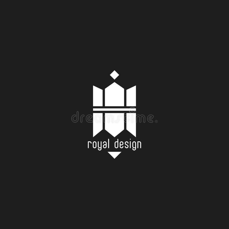 Maqueta del logotipo del lápiz y de la corona del emblema creativo del diseño ilustración del vector