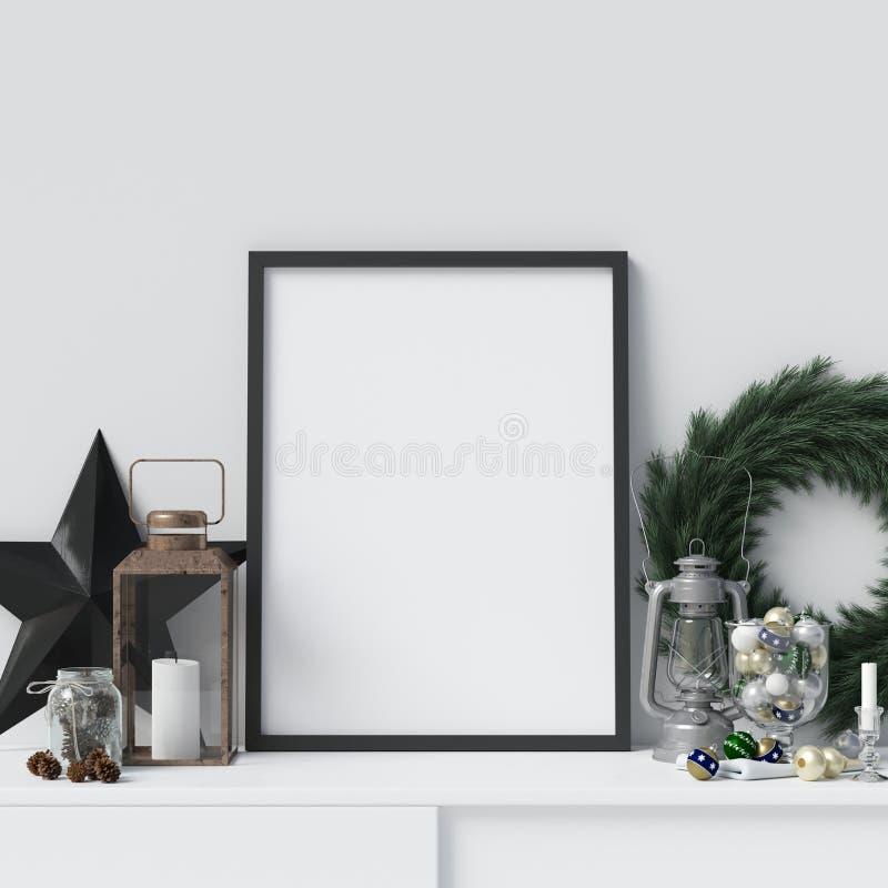 Maqueta del marco del cartel de la decoración de la Navidad ilustración del vector